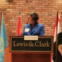 Jessica Vaughan (at podium) fields questions from moderator Heather Smith-Cannoy, associate profe...