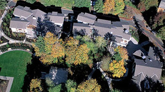 Above: An aerial view of the angled rooftops of West, Roberts, and East halls.