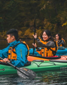 L&C students kayaking on a College Outdoors trip.