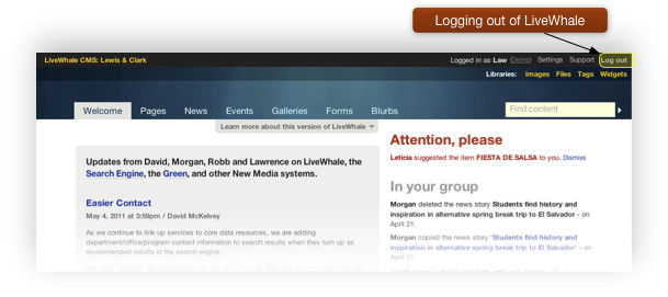 Log Out from LiveWhale