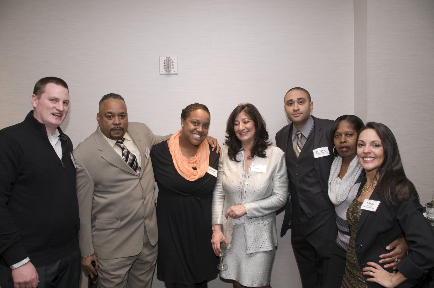 Rakeem Washington '08 (third from right) and Molly Allison Washington '08 (far right).