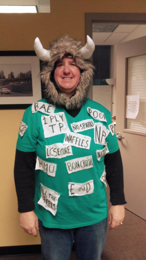 "Last year's prize for best individual costume went to: ""Rated G LC Yik Yak Word Cloud,"