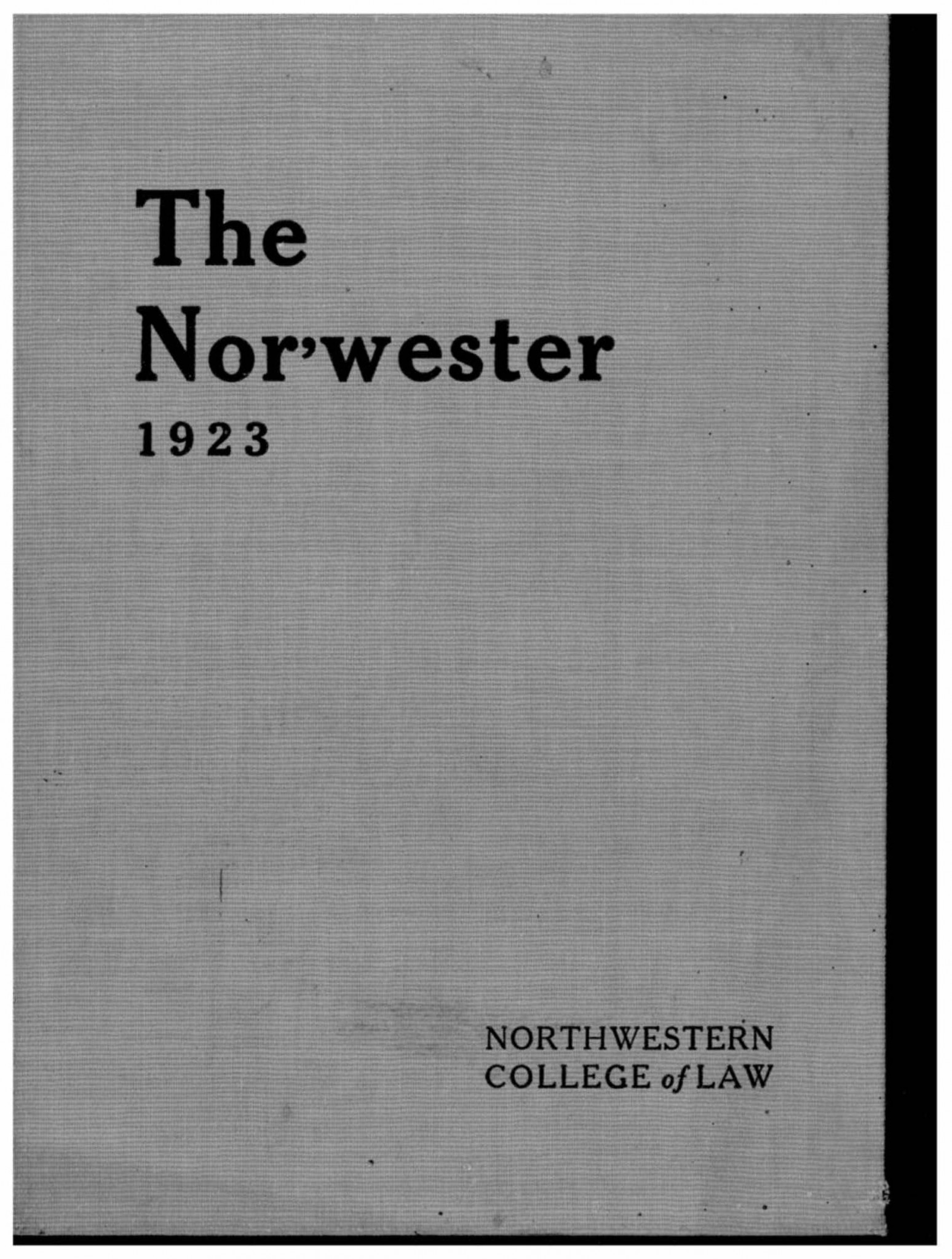 Cover of The Nor'wester 1923