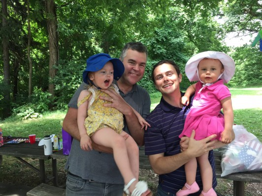 Patrick Sullivan JD '12 (left) with his daughter, Shelby Sullivan, and Thomas Chandler JD '12 with his daughter, Harper Chandler