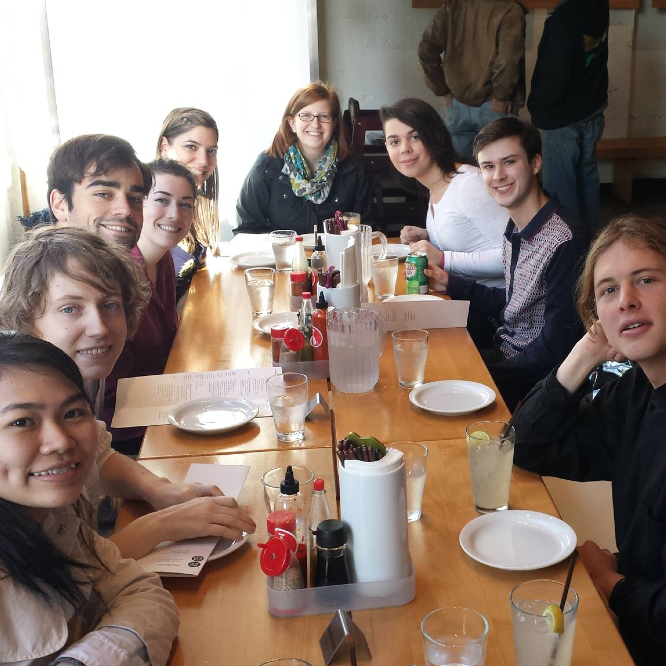 Chrys Hutchings, Staff: Check out the L&C students that participated in Destination Portland. They're having lunch at Boke Bowl, a Portland restaurant owned by some L&C graduates.