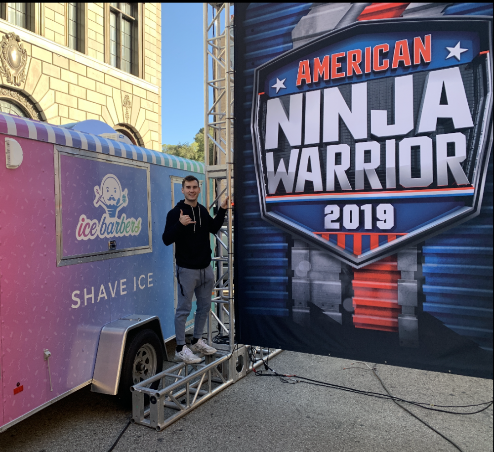 Lombardi in front of his shave-ice food truck, at the taping of the American Ninja Warrior episod...