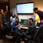 The High Performance Computing (HPC) team running their first job ever run on BLT. Pictured are J...