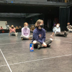 Students rehearsing for the Fall 2020 production of Cabaret do so while practicing social distanc...