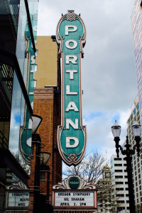 The Portland sign at the Arlene Schnitzer Concert Hall