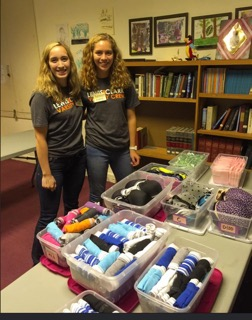 Founders Paige Sanders and Ashley Garber at the Portland Panty Project's first distribution in 2015.