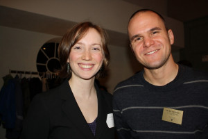 Laura Bogar B.A. '12 and Professor Peter Kennedy at the 2011 Pamplin Society induction ceremony.