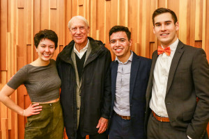 "The ""GetTurf"" team -- Rachel Stone '18, Matthew Telles '21, and Nicholas Lombardi '21 -- with pitch competition judge,  retired faculty member and life trustee John Bates."