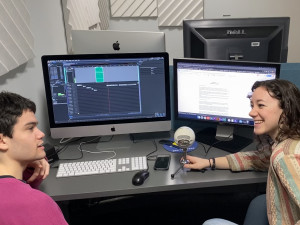 Bryan Miller BA '20 and Hanna Merzbach BA '20 edit their groundbreaking podcast series.
