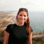 Samantha Stein '11, at the demarcation line between Israel and Lebanon