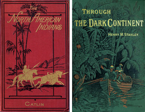 From 1830 through the 1890s, book covers became increasingly ornate. These examples, George Catli...