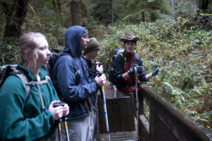 Micah Leinbach '14 talks about stream ecology on a College Outdoors trip. Photo credit: Rye Druzi...