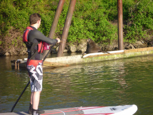 Stand-up paddleboarding at Willamette Falls with College Outdoors.