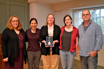 Becko Copenhaver (center) stands with the other finalists for 2013 Teacher of the Year. From left to right: Assistant Professor of Psychology Jennifer LaBounty, Assistant Professor of English Kristin Fujie, Associate Professor of English Rachel Cole, and Associate Professor of Art Mike Rathbun