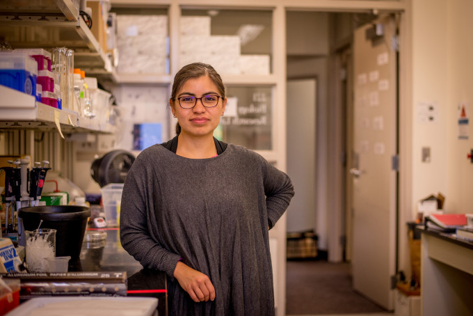 Assistant Professor of Biology Norma Velazquez-Ulloa in her lab.