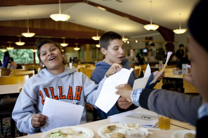 Summer academy students Olivia Hines, 16, of the Toppenish tribe, and Chance Moyer, 16, of the Bu...