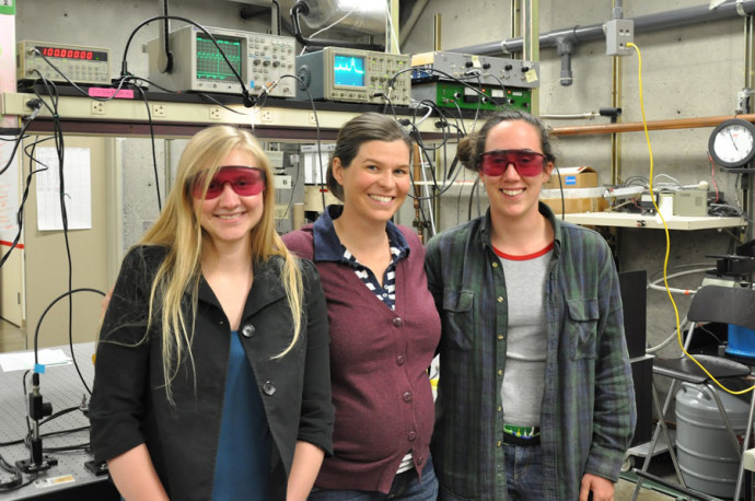 Alaina Green '13, Assistant Professor of Physics Shannon O'Leary, and Emily Fagan '14