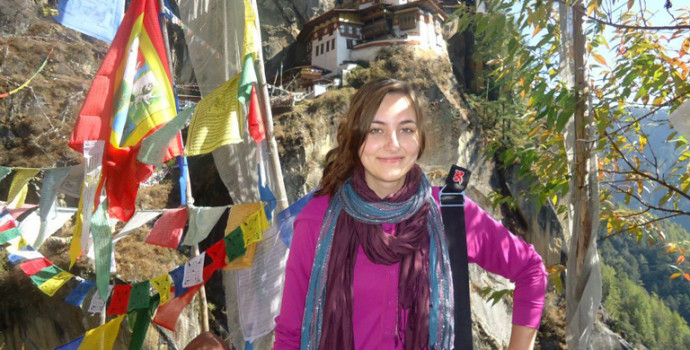 Hillary Patin in Bhutan after her 2011 overseas program in India