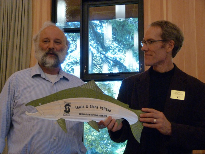 Professor of Law Dan Rohlf (right) accepted the Salmon-Safe certification at the annual Sustainab...