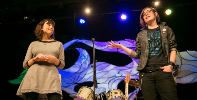 Molly Gray, right, talks about the Rock 'n' Roll Camp for Girls at a TEDxConcordia event. (Ph...