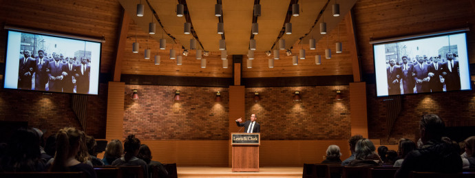 James Forman Jr. talking at the Chamberlin Social Justice Lecture on January 25. (Photo by Ted Ja...