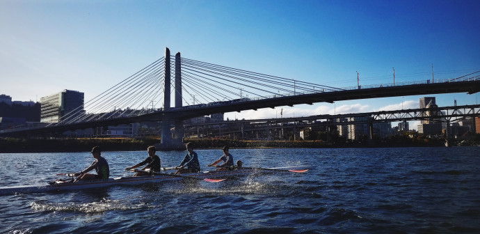 The Lewis & Clark crew teams get to row on the Willamette River in downtown Portland.