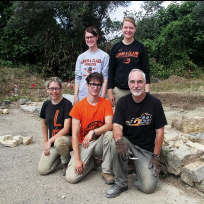 Professor Kelly with students at an archeological dig site in Italy in 2014.
