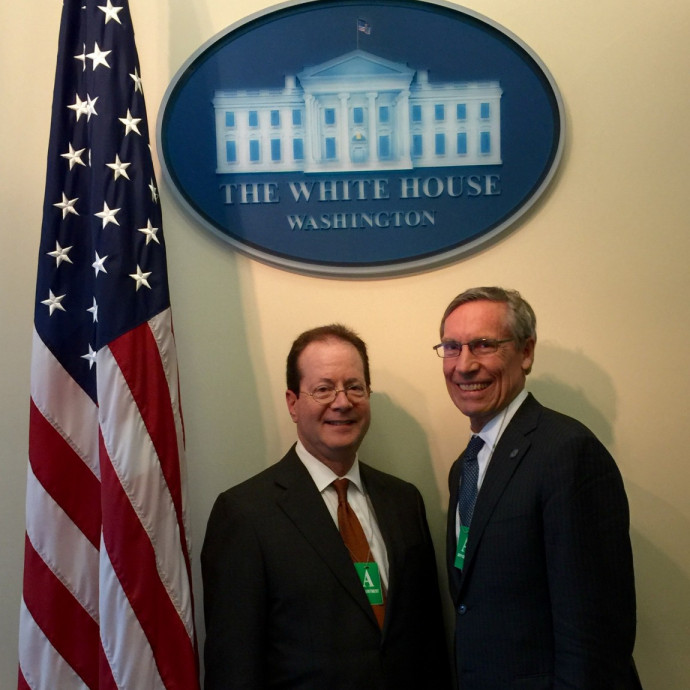 Lewis & Clark President Barry Glassner and Pomona College President David Oxtoby at the White...