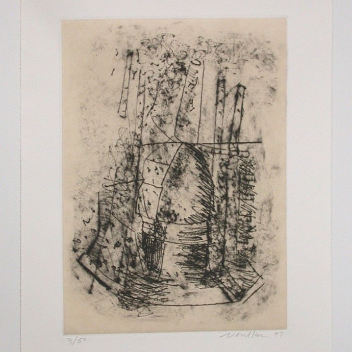 Peter Voulkos, Untitled Drypoint, 1997, Drypoint etching, 22.5 x 15 inches. Courtesy Frank Lloyd ...