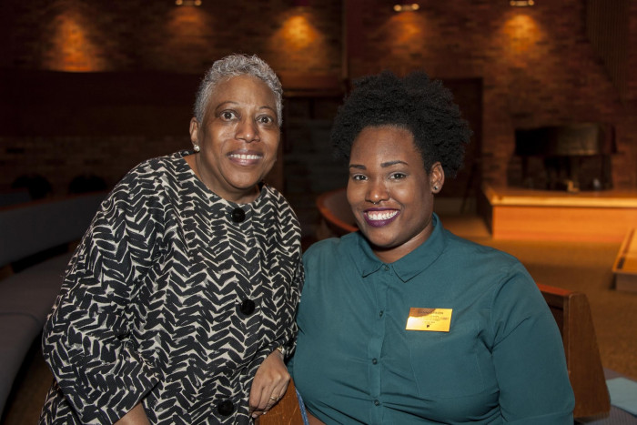 Danni Green '16 , right, with Rev. Terry McCray at the 2016 MLK lecture.