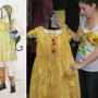 Sophomore Annie Fassler, who will play Little Sally in Urinetown, shows her costume. The inset is...