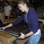 Senior theatre major Anna Crandall works in the shop as part of her theatre lab course. Crandall ...