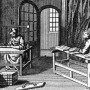 This illustration depicts different stages of a traditional bindery, including a wood press and a...
