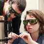 Reuben Peterson '14 and Amaya Lucas '15 conduct research with holographic optical tweezers.