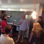 Michel George, associate vice president for facilities, leads a tour of the remodeled Juniper res...