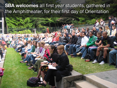 SBA welcomes all first year students, gathered in the Amphitheater, for their first day of Orientation.