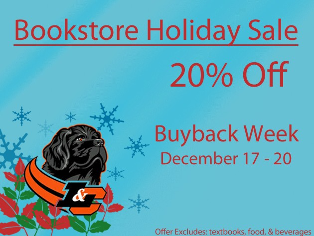 2012 Bookstore Holiday Sale<br /> 20% Off<br /> Buyback Week<br /> December 17 - 20