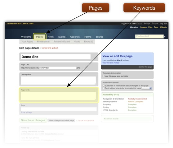 Highlights Keyword entry field on Edit Page screen.